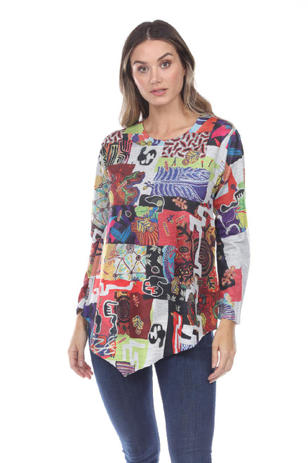 Inoah Colorful Abstract French Terry Long Sleeve Aline Asymmetrical Top