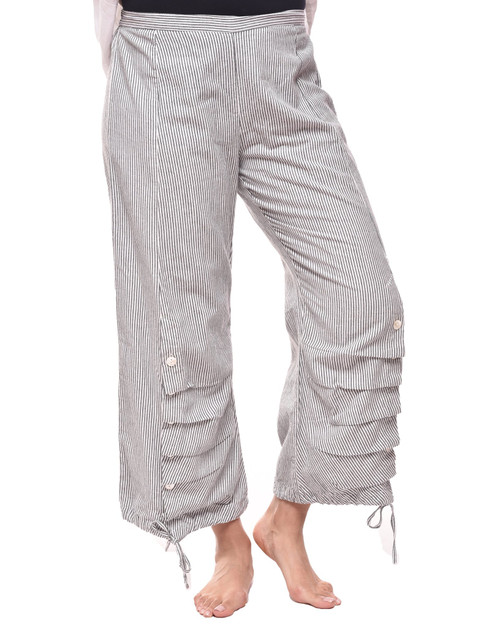 Tulip Scooter Grey Stripe Cotton Button Front Drawstring Hem Pant
