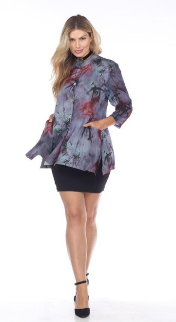 Aris A. Purple Satin Asian Village 3/4 Sleeve Button-Up Pocket Tunic