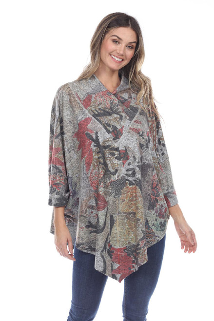Inoah Muted Floral Brushed Knit Cowl One-Size Poncho Top