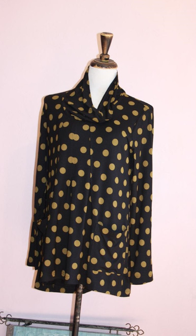 Komil Black & Gold Cotton Polka Dot Long Sleeve Cowl Hi-Lo Tunic
