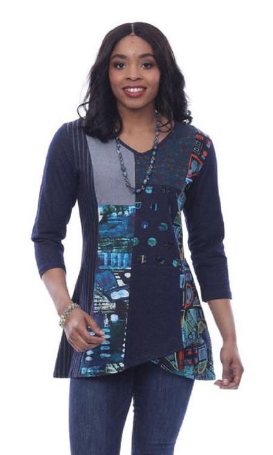 Parsley & Sage Patchwork 3/4 Sleeve V-Neck Hi-Lo Tunic