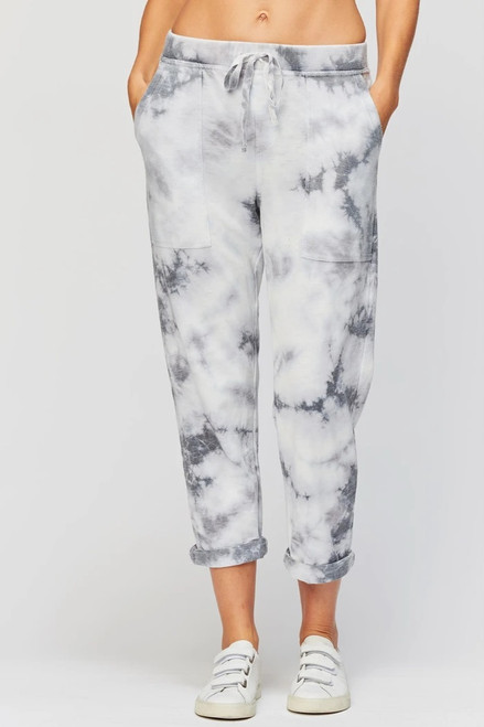 XCVI Grey Heather Tie-Dye Drawstring Waist Terry Jogger