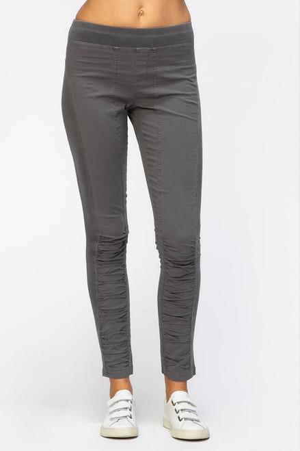 XCVI Grey Poplin Pull-On Ruched Legging