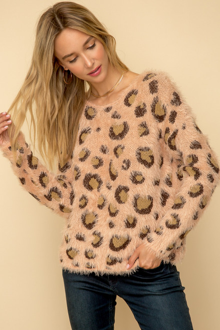 Hem & Thread Blush Leopard Print Long Sleeve Relaxed Eyelash Sweater