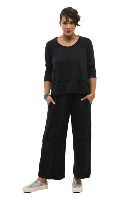 Tulip Snapdragon Cotton Black Straight Cut Pants