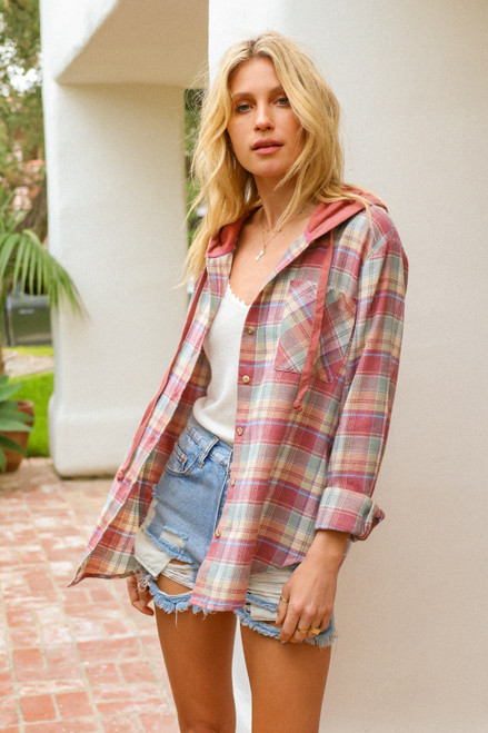 Hem & Thread Pastel Flannel Plaid Long Sleeve Button-Up Hoodie Shirt