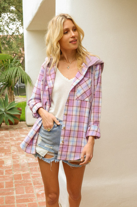 Hem & Thread Purple Flannel Plaid Long Sleeve Button-Up Hoodie Hi-Lo Shirt