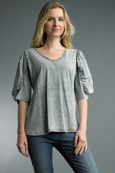 Tempo Paris Grey Cotton Short Ruched Sleeve Raw Edge V-Neck Relaxed Top