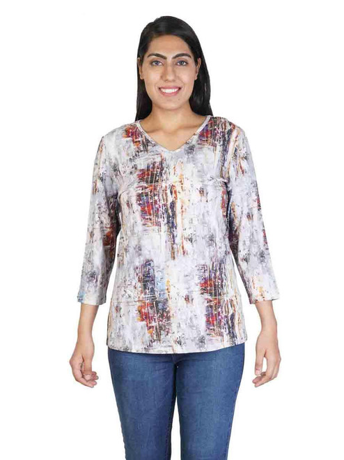 Parsley & Sage Earthy Abstract Cotton Blend 3/4 Sleeve V-neck Top