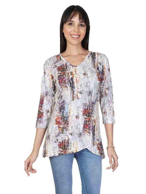 Parsley & Sage Earthy Abstract Cotton blend 3/4 Sleeve V-Neck Asymmetrical Tunic