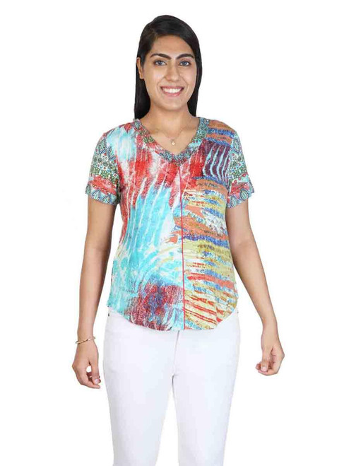 Parsley & Sage Cotton Blend Colorful Abstract Prints Short Sleeve Ruched V-Neck Top