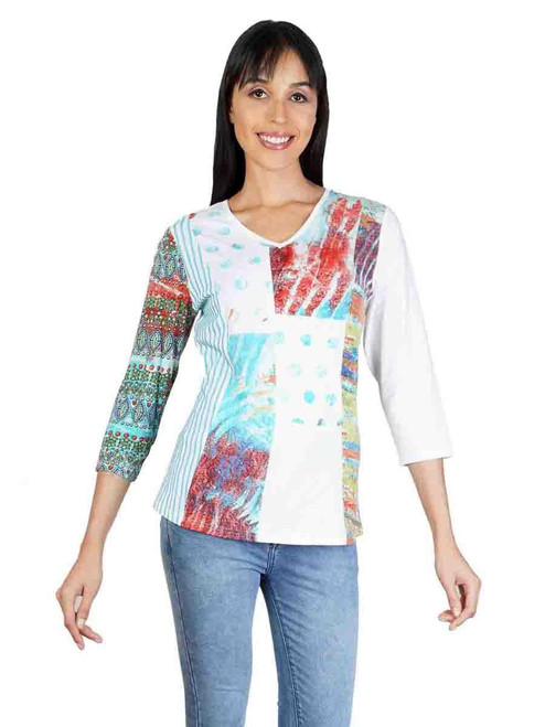 Parsley & Sage Cotton Blend Colorful Abstract Prints 3/4 Sleeve V-neck Top