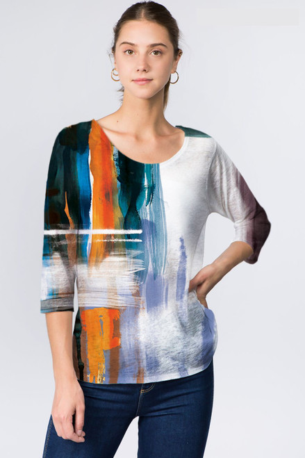 Et' Lois Abstract Brushstroke Print Soft Knit Top