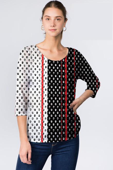 Et' Lois Black & White Polka Dot Soft Knit Top