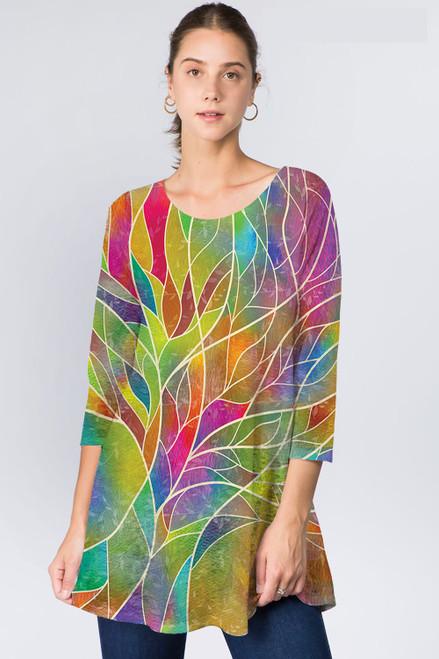 Et' Lois Multicolored Leaf Print Soft Knit Top