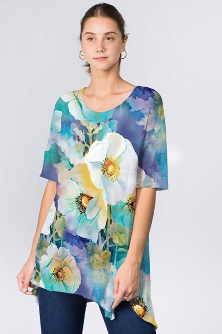 Et' Lois Blue Floral Soft Knit Top