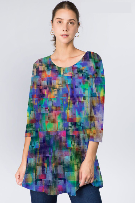 Et' Lois Abstract Multicolored Cubes Soft Knit Top