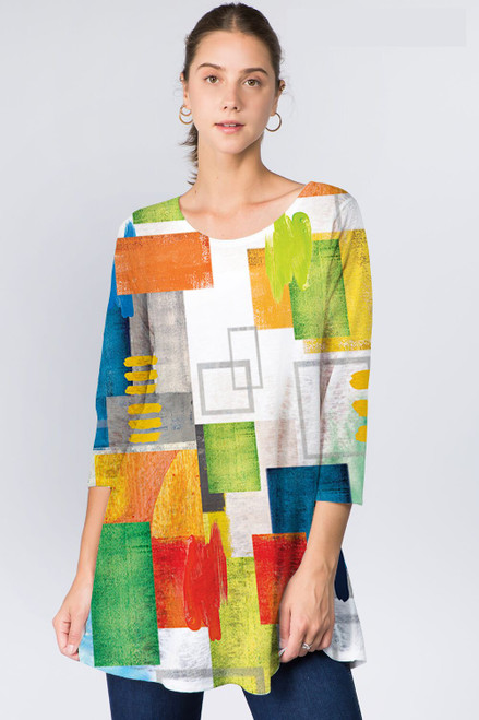 Et' Lois Abstract Multicolored Geometric Shapes Soft Knit Top