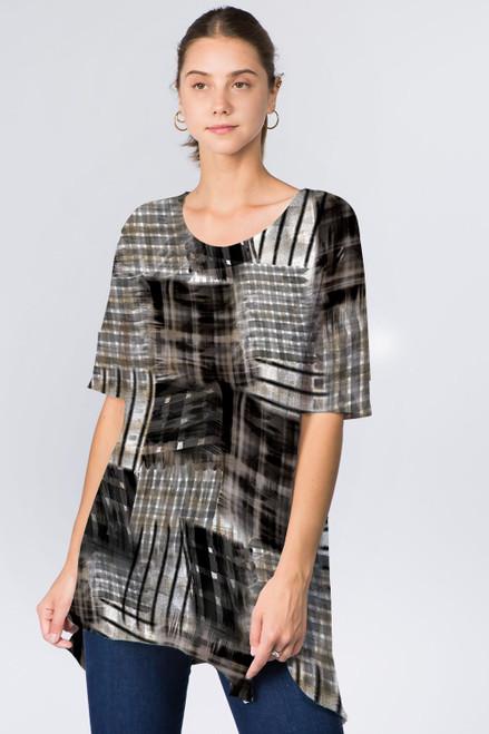 Et' Lois Black & White Multipatterned Squares Soft Knit Top