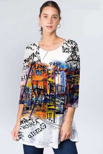 Et' Lois Architecture Notes City Drawing Soft Knit Top