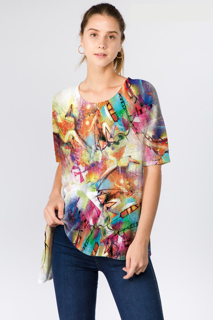 Et' Lois Abstract Colorful Soft Knit Top