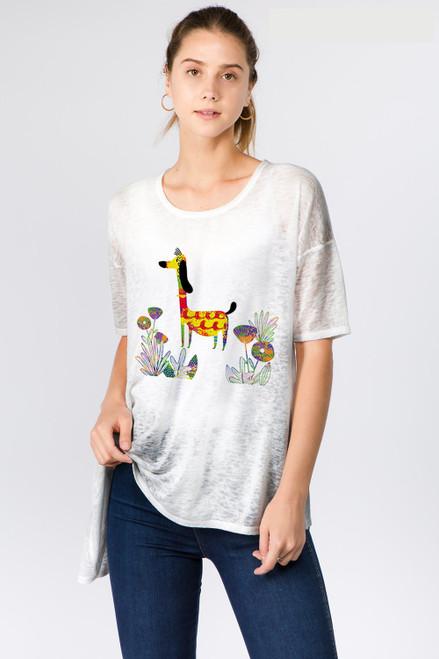 Et' Lois Dog Print Soft Knit Top