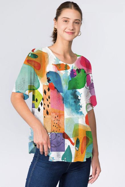 Et' Lois Asbtract Watercolor Stains Soft Knit Top
