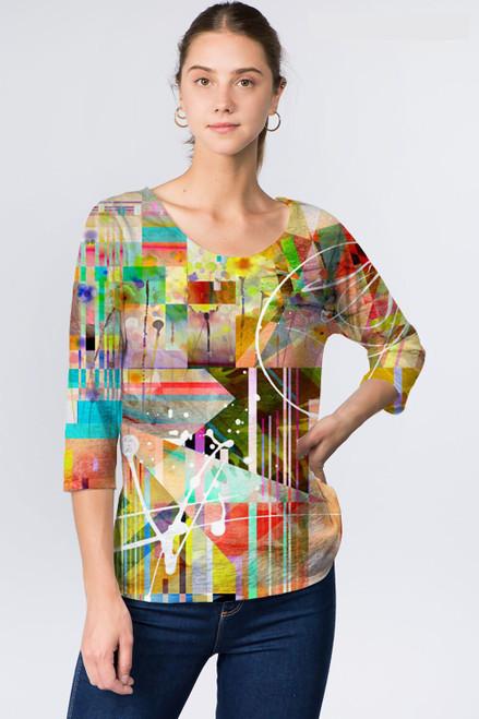 Et' Lois Asbtract Pixel Splatter Soft Knit Top
