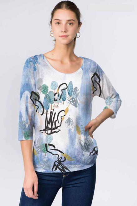Et' Lois Blue Skies & Tree Sketch Print Soft Knit Top