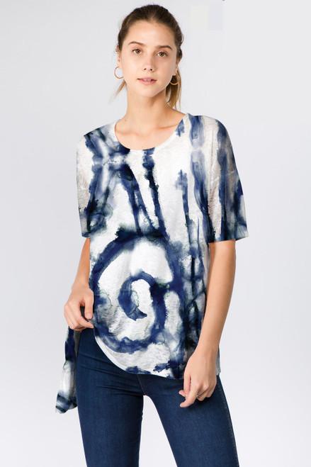 Et' Lois Dark Blue Watercolor Swirl Print Soft Knit Top