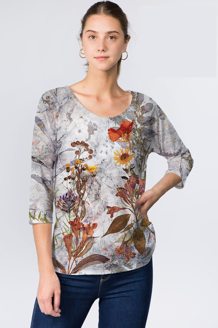 Et' Lois Grey Floral Print Soft Knit Top