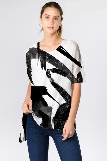 Et' Lois Black & White Brushstroke Soft Knit Top