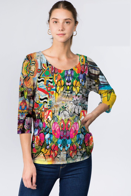 Et' Lois Colorful Multipattern Print Soft Knit Top