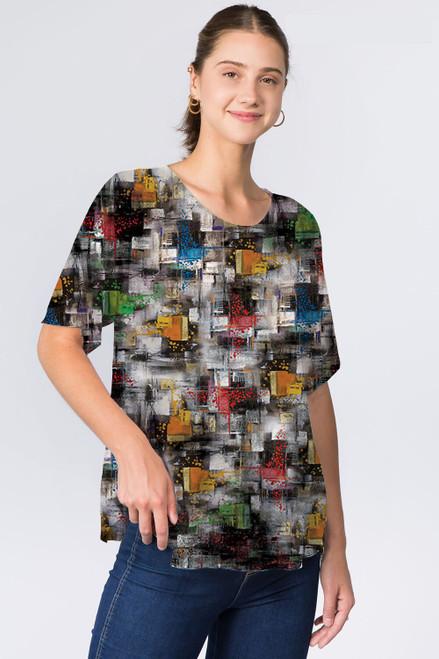 Et' Lois Multicolored Crosshatch Pattern Soft Knit Top