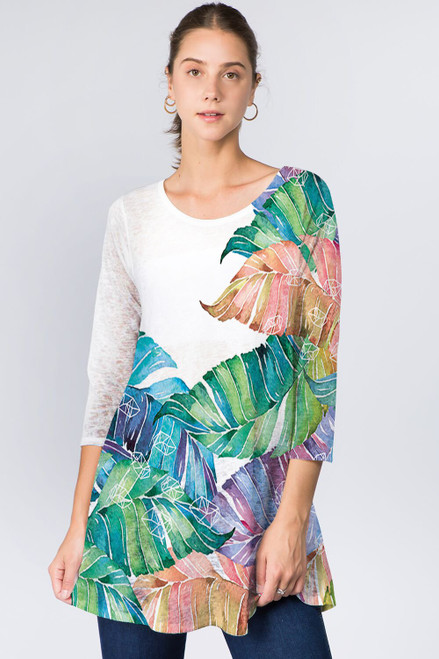 Et' Lois Multicolored Palm Leaves Soft Knit Top