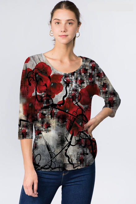 Et' Lois Red Poppies Soft Knit Top