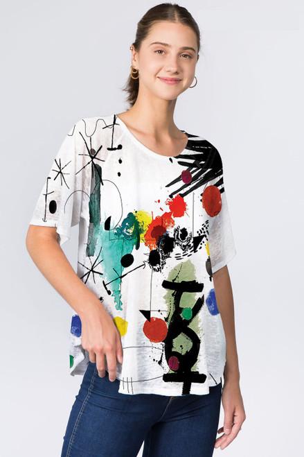 Et' Lois Colorful Sketch & Splatter Soft Knit Top