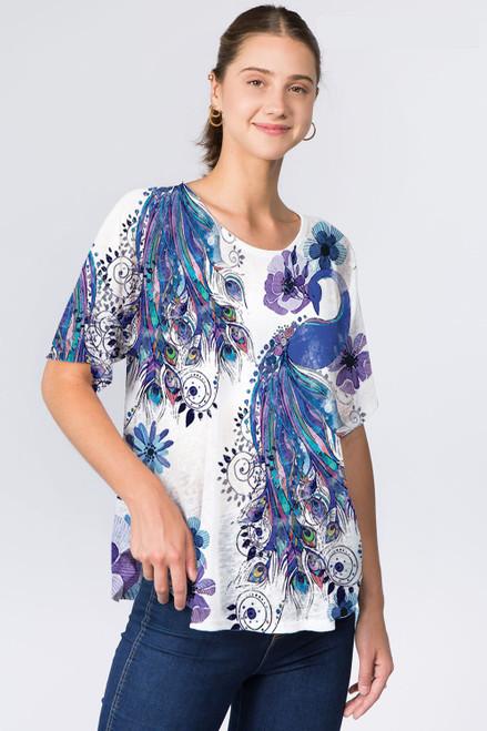 Et' Lois Peacock Print Soft Knit Top