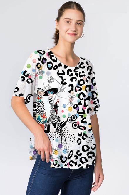 Et' Lois Fashionable Meerkat & Leopard Print Soft Knit Top