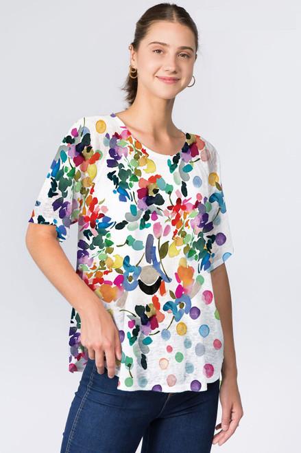 Et' Lois Rainbow Watercolor Flowers Soft Knit Top