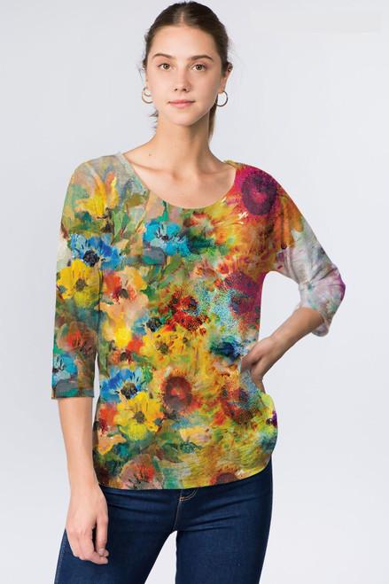 Et' Lois Multicolored Sunflower Soft Knit Top