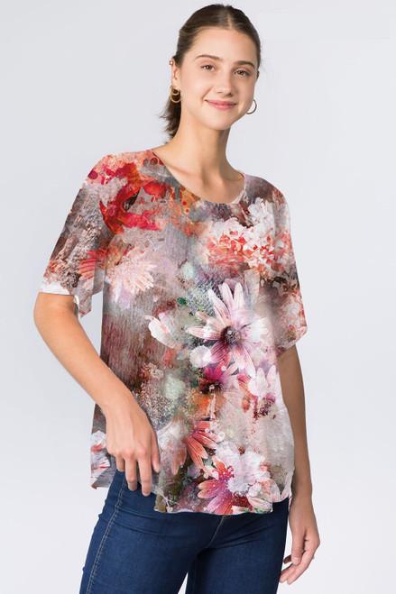 Et' Lois Beige & Pinks Daisies Print Soft Knit Top