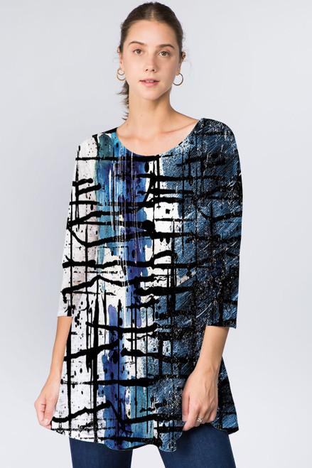 Et' Lois Deep Blue Abstract Soft Knit Top