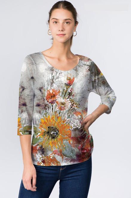 Et' Lois Sunflower Oil Painting Soft Knit Top