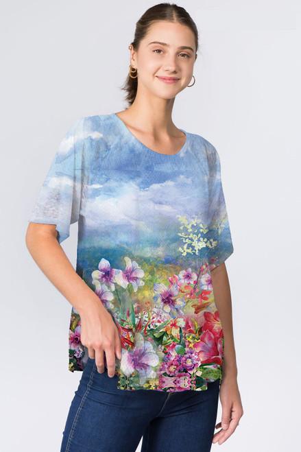 Et' Lois Blue Skies & Meadow Flowers Print Soft Knit Top
