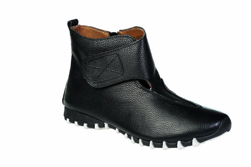 Litfoot Leather Slip-On Velcro Booties With Side Zip Shoe