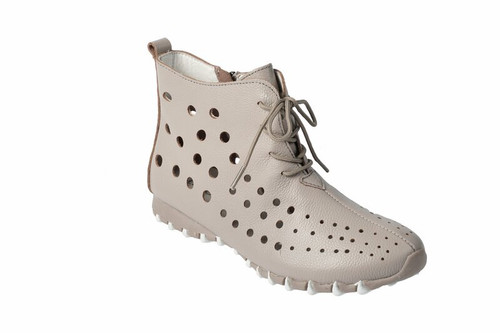Litfoot Leather Lace Up Booties With Zip Shoe
