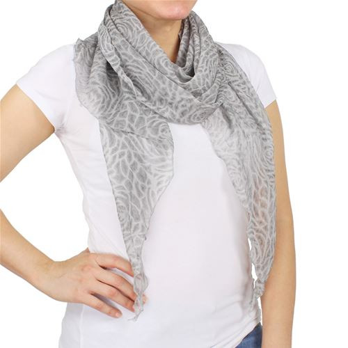Baked Beads Grey Sheer Flower Scarf