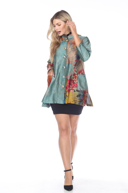 Aris A. Colorful Floral 3/4 Sleeve Button-Up Pocket tunic